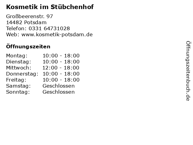 Kosmetik im Stübchenhof in Potsdam: Adresse und Öffnungszeiten