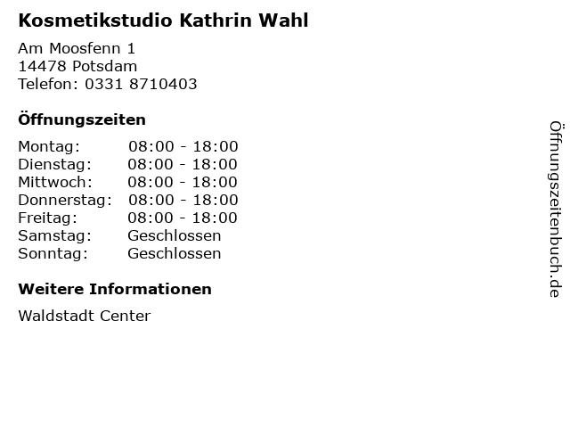 Kosmetikstudio Kathrin Wahl in Potsdam: Adresse und Öffnungszeiten
