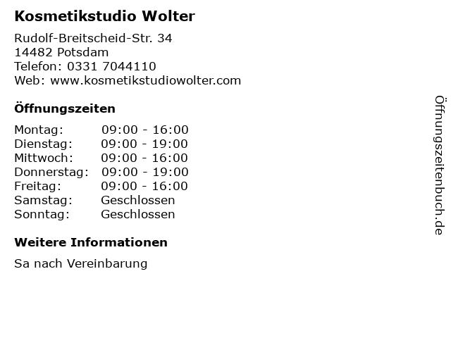 Kosmetikstudio Wolter in Potsdam: Adresse und Öffnungszeiten