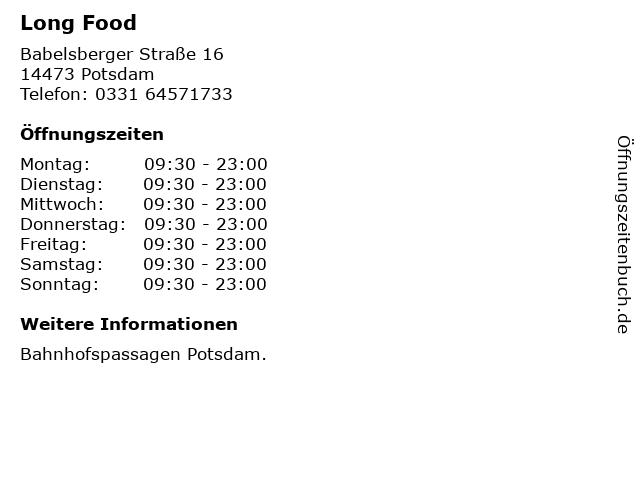 Long Food in Potsdam: Adresse und Öffnungszeiten