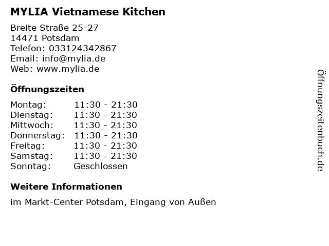 MYLIA Vietnamese Kitchen in Potsdam: Adresse und Öffnungszeiten