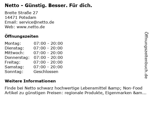 NETTO Deutschland - schwarz-gelber Discounter mit dem Scottie in Potsdam: Adresse und Öffnungszeiten