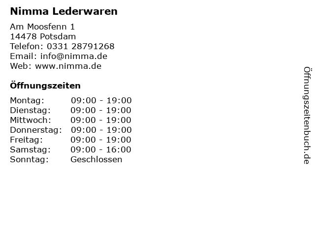 Nimma Lederwaren in Potsdam: Adresse und Öffnungszeiten