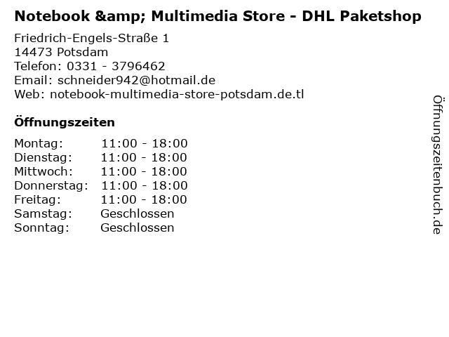 Notebook & Multimedia Store - DHL Paketshop in Potsdam: Adresse und Öffnungszeiten