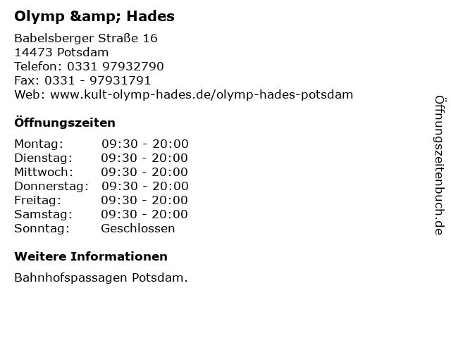 Olymp & Hades in Potsdam: Adresse und Öffnungszeiten
