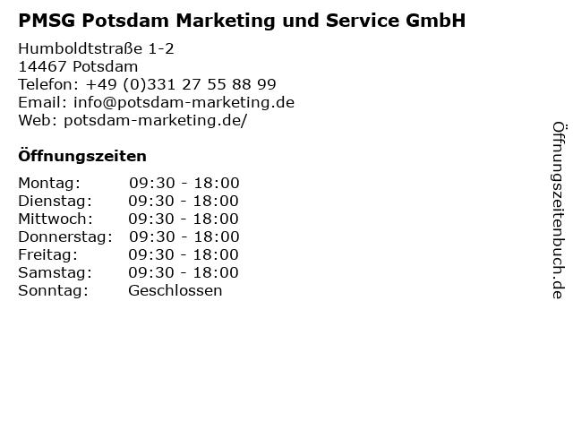 PMSG Potsdam Marketing und Service GmbH in Potsdam: Adresse und Öffnungszeiten