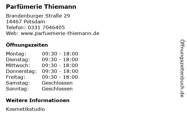 Parfümerie Thiemann in Potsdam: Adresse und Öffnungszeiten