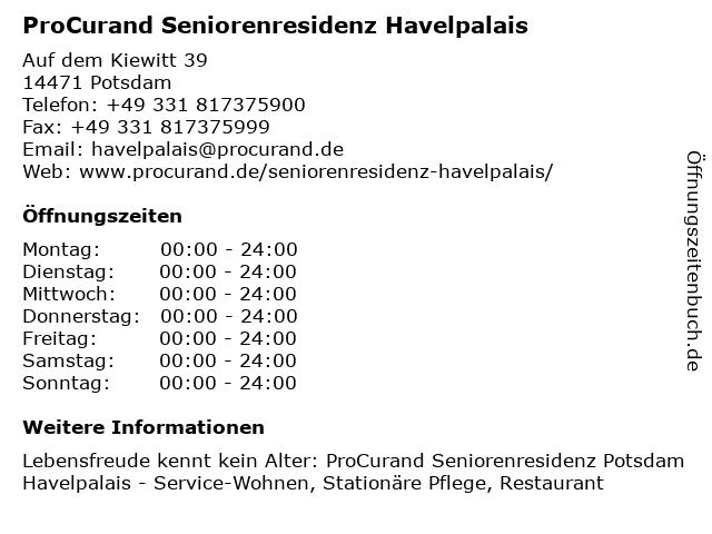 ProCurand Seniorenresidenz Havelpalais in Potsdam: Adresse und Öffnungszeiten