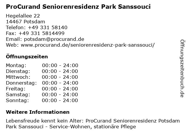 ProCurand Seniorenresidenz Park Sanssouci in Potsdam: Adresse und Öffnungszeiten