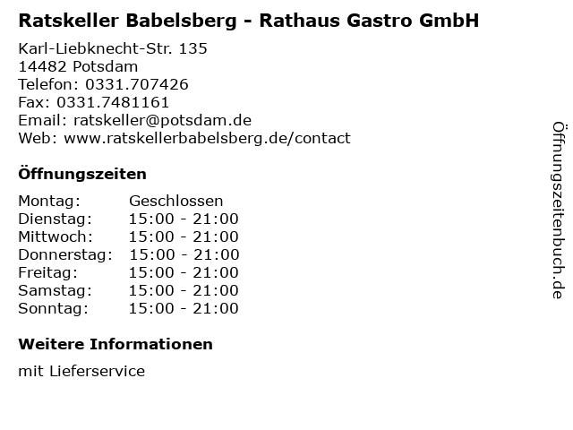 Ratskeller Babelsberg - Rathaus Gastro GmbH in Potsdam: Adresse und Öffnungszeiten