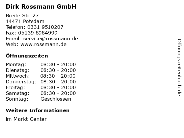 Dirk Rossmann GmbH in Potsdam: Adresse und Öffnungszeiten