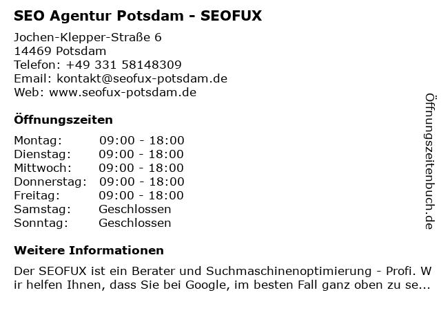 SEO Agentur Potsdam - SEOFUX in Potsdam: Adresse und Öffnungszeiten