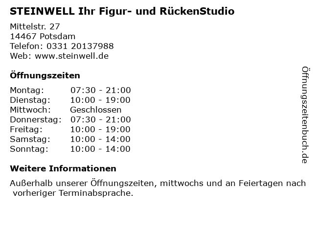 STEINWELL Ihr Figur- und RückenStudio in Potsdam: Adresse und Öffnungszeiten