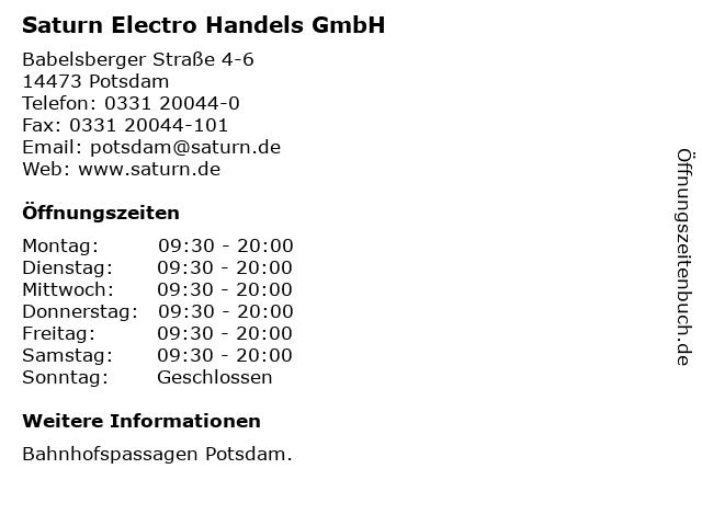 Saturn Electro Handels GmbH in Potsdam: Adresse und Öffnungszeiten