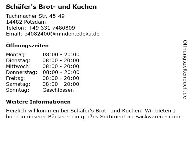 Schäfer's Brot- und Kuchen in Potsdam: Adresse und Öffnungszeiten