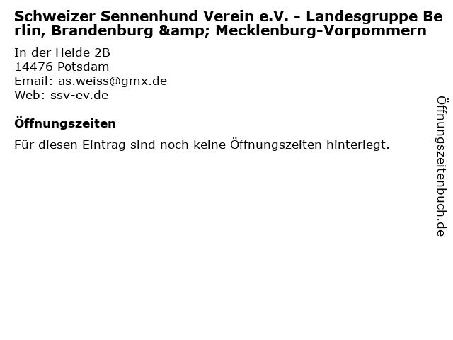 Schweizer Sennenhund Verein e.V. - Landesgruppe Berlin, Brandenburg & Mecklenburg-Vorpommern in Potsdam: Adresse und Öffnungszeiten