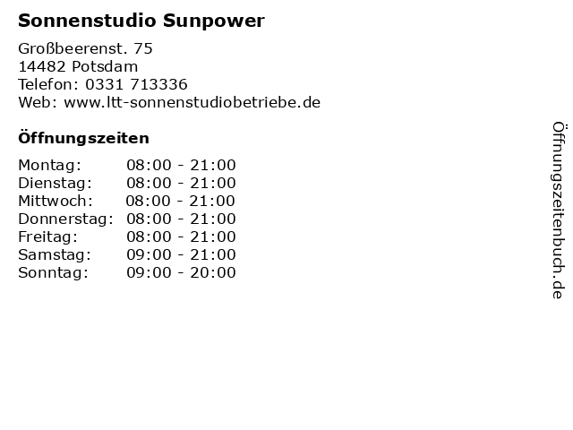Sonnenstudio Sunpower in Potsdam: Adresse und Öffnungszeiten