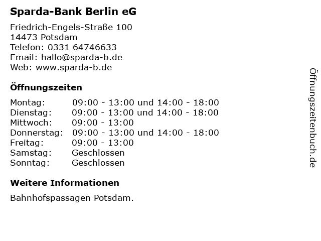 Sparda-Bank Berlin eG in Potsdam: Adresse und Öffnungszeiten