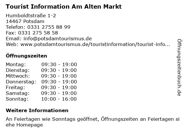Tourist Information Am Alten Markt in Potsdam: Adresse und Öffnungszeiten