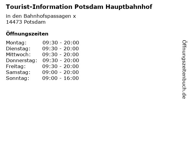 Tourist-Information Potsdam Hauptbahnhof in Potsdam: Adresse und Öffnungszeiten