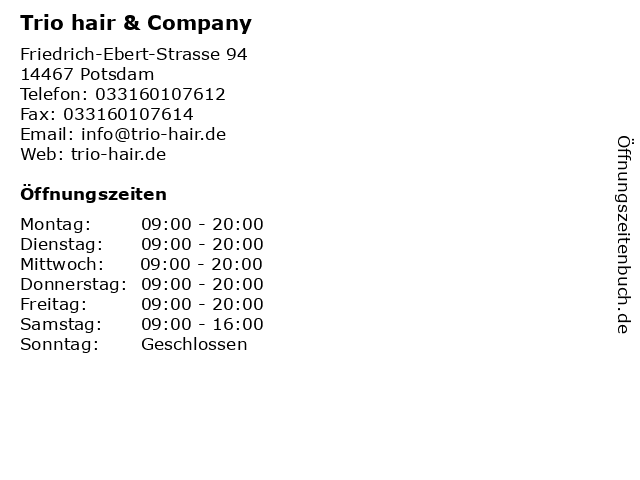 Trio hair & Company in Potsdam: Adresse und Öffnungszeiten