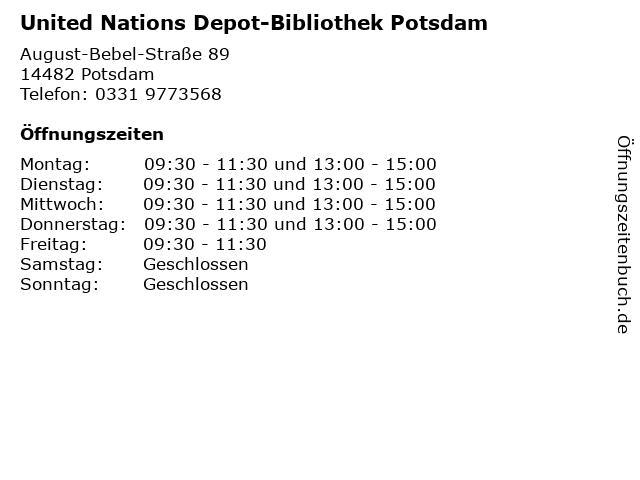 United Nations Depot-Bibliothek Potsdam in Potsdam: Adresse und Öffnungszeiten
