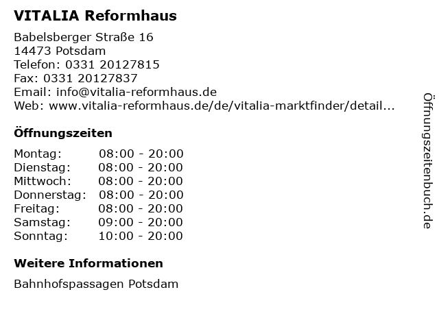 VITALIA Reformhaus in Potsdam: Adresse und Öffnungszeiten