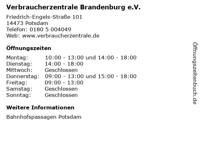 Verbraucherzentrale Brandenburg e.V. in Potsdam: Adresse und Öffnungszeiten