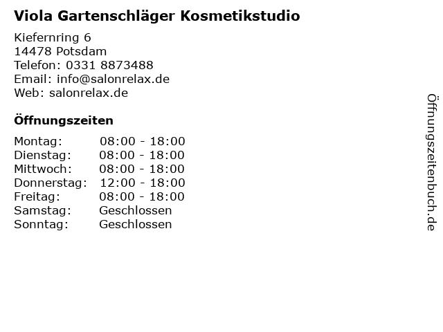 Viola Gartenschläger Kosmetikstudio in Potsdam: Adresse und Öffnungszeiten