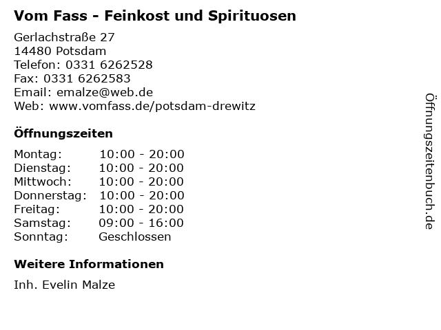 Vom Fass - Feinkost und Spirituosen in Potsdam: Adresse und Öffnungszeiten
