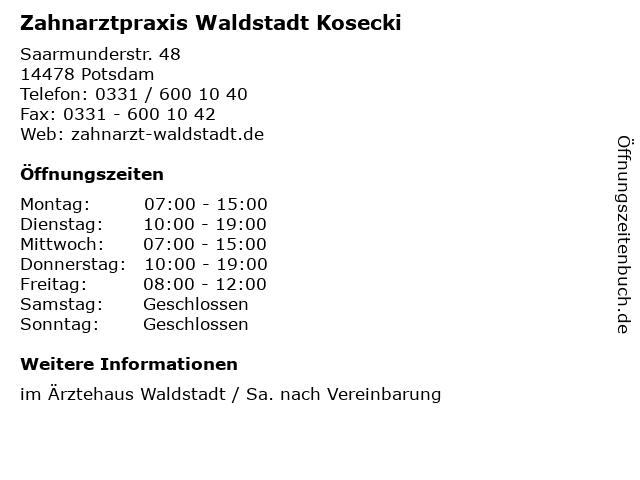 Zahnarzt Potsdam Waldstadt in Potsdam: Adresse und Öffnungszeiten