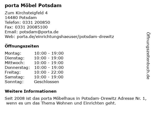 ᐅ Offnungszeiten Porta Mobel Zum Kirchsteigfeld 4 In Potsdam