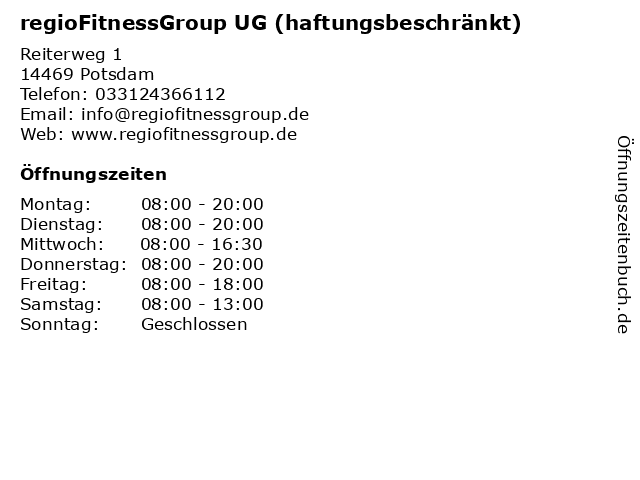 regioFitnessGroup UG (haftungsbeschränkt) in Potsdam: Adresse und Öffnungszeiten