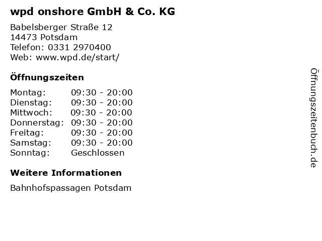 wpd onshore GmbH & Co. KG in Potsdam: Adresse und Öffnungszeiten