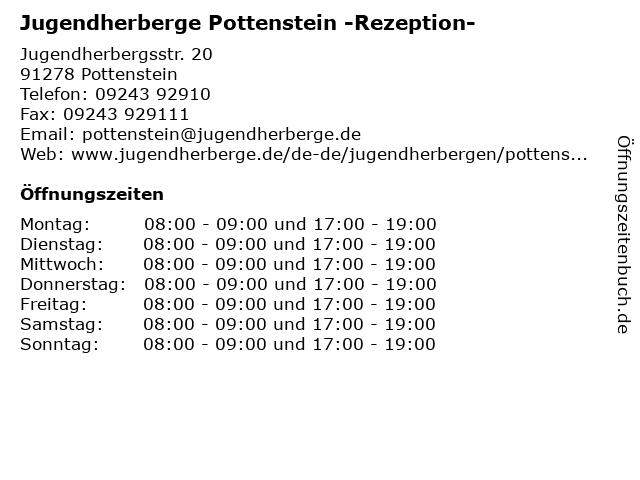 Jugendherberge Pottenstein -Rezeption- in Pottenstein: Adresse und Öffnungszeiten