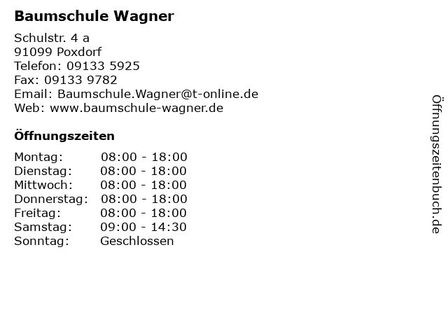 Baumschule Wagner in Poxdorf: Adresse und Öffnungszeiten