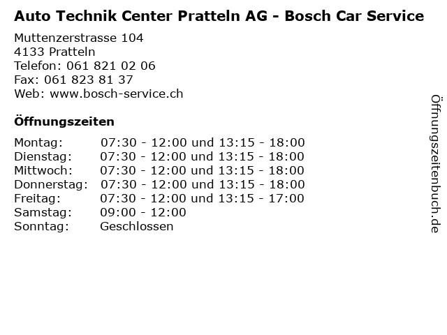 Auto Technik Center Pratteln AG - Bosch Car Service in Pratteln: Adresse und Öffnungszeiten