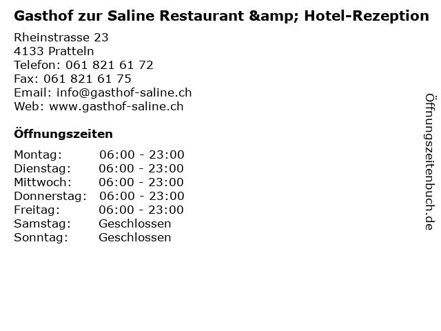Gasthof zur Saline Restaurant & Hotel-Rezeption in Pratteln: Adresse und Öffnungszeiten