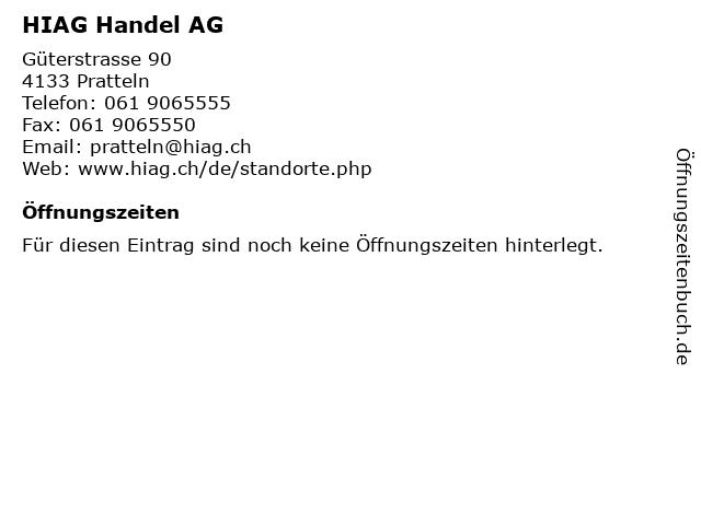 HIAG Handel AG in Pratteln: Adresse und Öffnungszeiten
