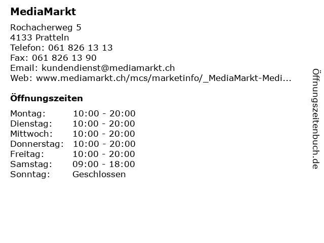 MediaMarkt in Pratteln: Adresse und Öffnungszeiten