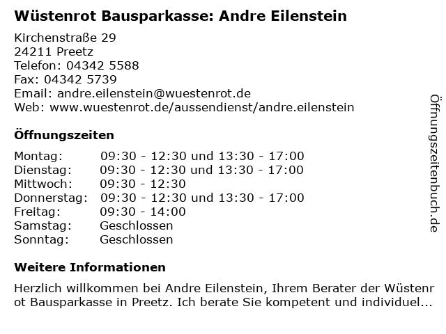 Wüstenrot Bausparkasse: Andre Eilenstein in Preetz: Adresse und Öffnungszeiten