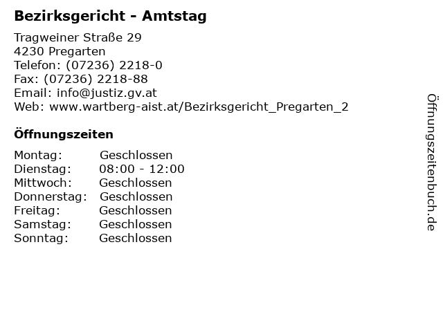 Bezirksgericht - Amtstag in Pregarten: Adresse und Öffnungszeiten