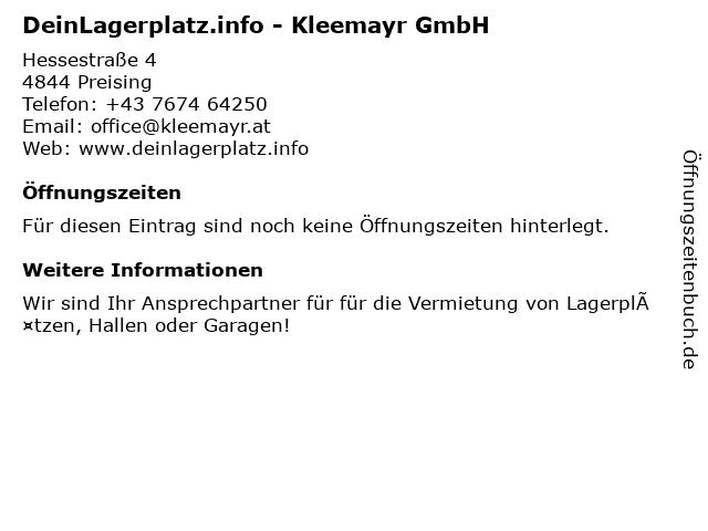 DeinLagerplatz.info - Kleemayr GmbH in Preising: Adresse und Öffnungszeiten