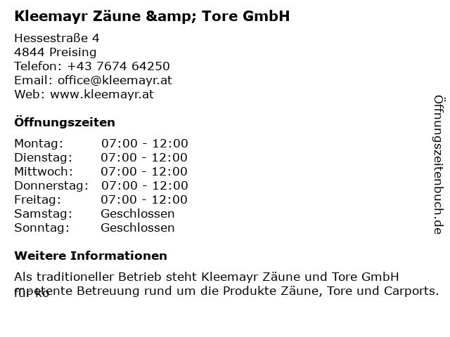 Kleemayr Zäune & Tore GmbH in Preising: Adresse und Öffnungszeiten