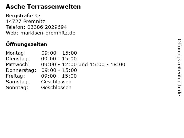 Asche Terrassenwelten in Premnitz: Adresse und Öffnungszeiten