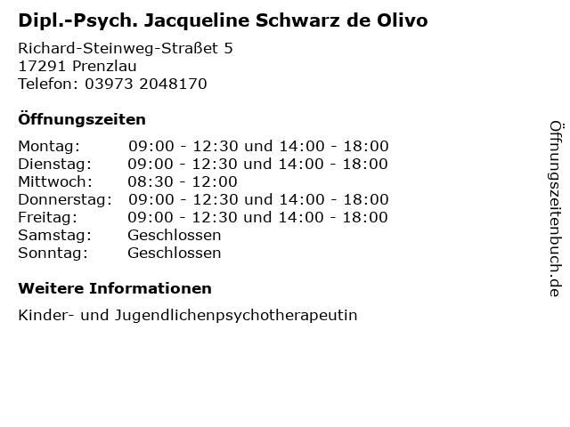 Dipl.-Psych. Jacqueline Schwarz de Olivo in Prenzlau: Adresse und Öffnungszeiten