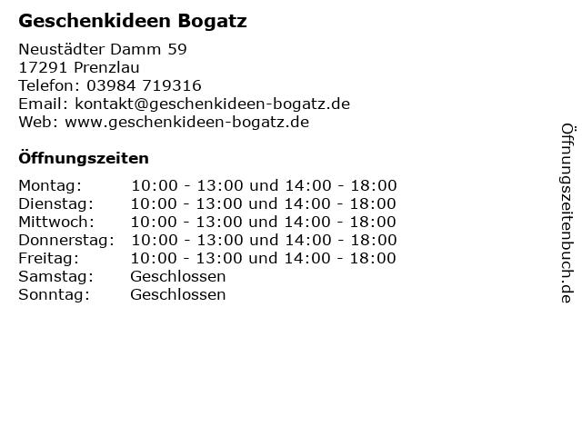 Geschenkideen Bogatz in Prenzlau: Adresse und Öffnungszeiten
