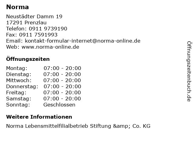 Norma Lebensmittelfilialbetrieb Stiftung & Co. KG in Prenzlau: Adresse und Öffnungszeiten