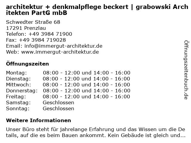 architektur + denkmalpflege beckert | grabowski ArchitektenPartG mbB in Prenzlau: Adresse und Öffnungszeiten