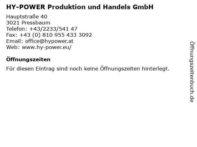HY-POWER Produktion und Handels GmbH in Pressbaum: Adresse und Öffnungszeiten